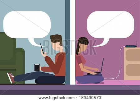 Man And Woman Sitting On Floor At Home Chatting Together Using Cell Smart Phone And Laptop Computer Wireless Wifi Online Connection Vector Illustration