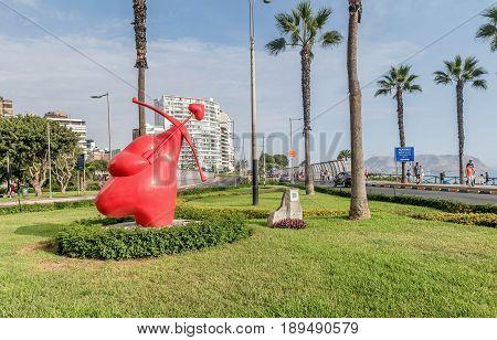 Lima, Peru- March 14, 2017:El Parque del Amor Lovers Park Miraflores Lima Peru