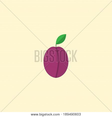 Flat Plum Element. Vector Illustration Of Flat Apricot Isolated On Clean Background. Can Be Used As Plum, Apricot And Fruit Symbols.