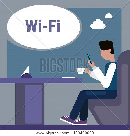 Man Sitting At Cafe Table Use Cell Smart Phone Internet Through Wifi Wireless Online Connection Vector Illustration