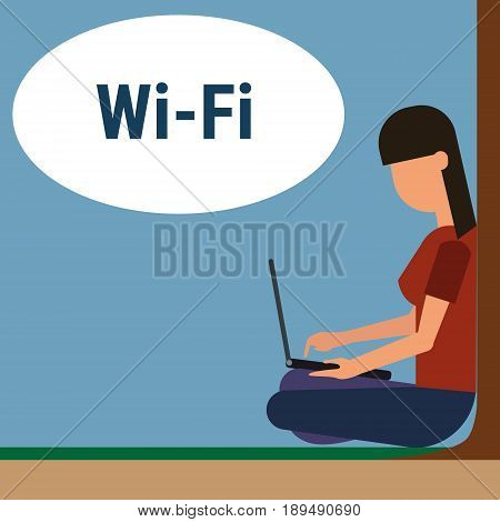Girl Sitting On Groud Outdoors Use Laptop Computer Internet Through Wifi Wireless Online Connection Vector Illustration