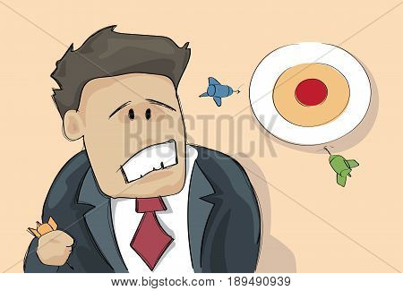 Confused Business Man Looking At Target Aiming Wrong Think Problem Solution Vector Illustration