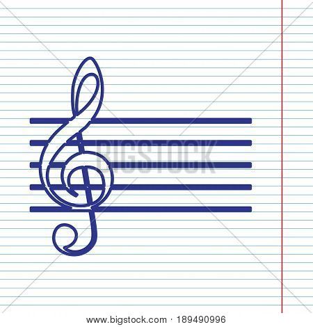 Music violin clef sign. G-clef. Vector. Navy line icon on notebook paper as background with red line for field.