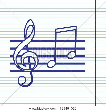 Music violin clef sign. G-clef and notes G, H. Vector. Navy line icon on notebook paper as background with red line for field.