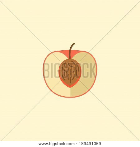 Flat Nectarine Element. Vector Illustration Of Flat Peach Isolated On Clean Background. Can Be Used As Peach, Nectarine And Fruit Symbols.