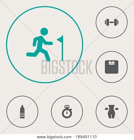 Set Of 6 Fitness Icons Set.Collection Of Body Balance, Running, Drink And Other Elements.