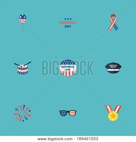 Flat Usa Badge, Medallion, Firecracker And Other Vector Elements. Set Of Memorial Flat Symbols Also Includes Firecracker, Sparklers, Award Objects.
