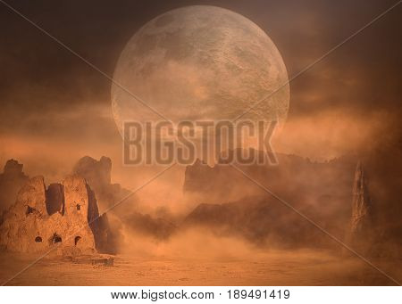 Super moon over the mystical desert landscape covered with dust. Spooky fantasy scenery.