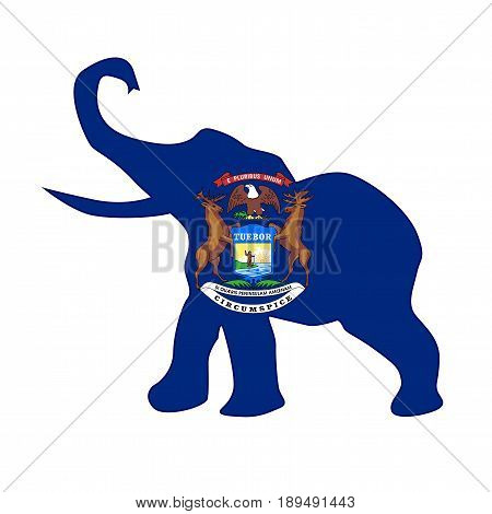 The Michigan Republican elephant flag over a white background