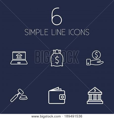 Set Of 6 Finance Outline Icons Set.Collection Of Bank, Moneybag, Auction And Other Elements.
