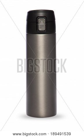 Grey thermos with plastic lid and convenient spout for an active life, isolated on white background