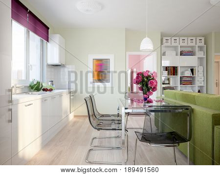 Modern Urban Contemporary Scandinavian Studio open living room dining room and kitchen Interior Design with Light green color walls Fuchsia decor white glossy kitchen and Light green sofa. 3d render