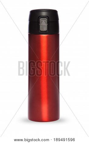 Red thermos with plastic lid and convenient spout for an active life, isolated on white background