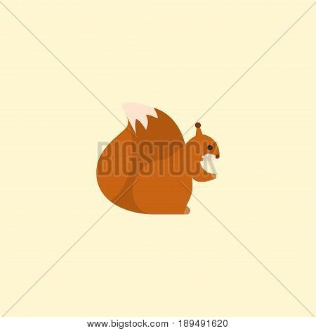 Flat Squirrel Element. Vector Illustration Of Flat Chipmunk Isolated On Clean Background. Can Be Used As Chipmunk, Squirrel And Nut Symbols.