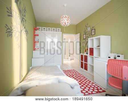 Modern Urban Contemporary Scandinavian Children Room Interior Design light green red and white colors. 3d rendering