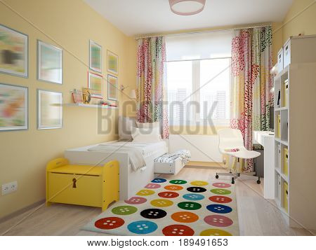 Modern Urban Contemporary Scandinavian Children Room Interior Design Yellow White and Blue colors. 3d rendering