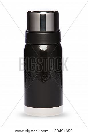 Black thermos with plastic lid and convenient spout for an active life, isolated on white background