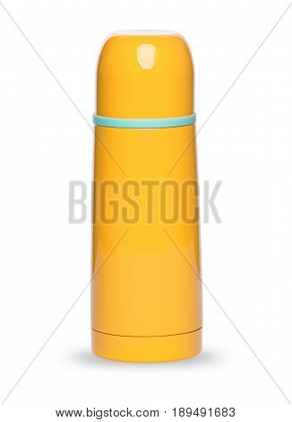 Metal yellow thermos for active life, isolated on white background