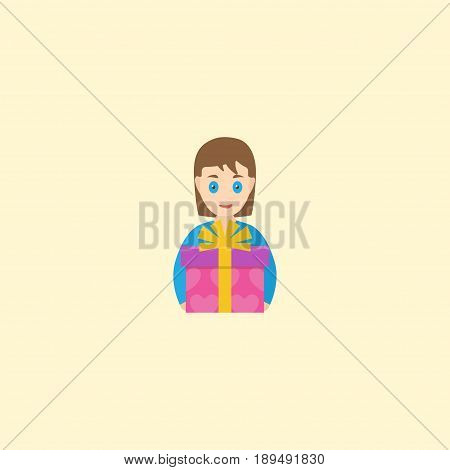 Flat Present Element. Vector Illustration Of Flat Gift To Mom Isolated On Clean Background. Can Be Used As Gift, Present And Mother Symbols.