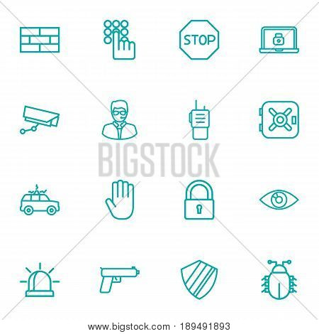 Set Of 16 Procuring Outline Icons Set.Collection Of Hand , Firewall , Alarm Elements.