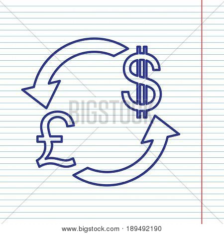 Currency exchange sign. UK: Pound and US Dollar. Vector. Navy line icon on notebook paper as background with red line for field.