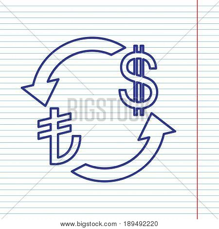 Currency exchange sign. Turkey Lira and US Dollar. Vector. Navy line icon on notebook paper as background with red line for field.