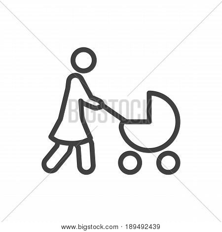 Isolted Perambulator Outline Symbol On Clean Background. Vector Stroller Element In Trendy Style.