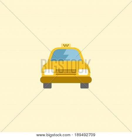 Flat Taxi Element. Vector Illustration Of Flat Cab Isolated On Clean Background. Can Be Used As Taxi, Cab And Passenger Symbols.