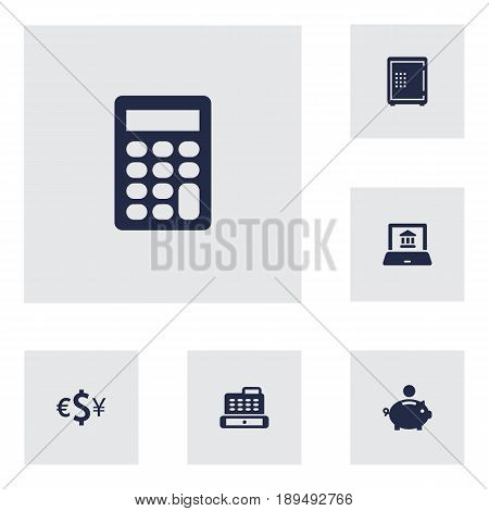Set Of 6 Finance Icons Set.Collection Of Currency, Electron Report, Strongbox And Other Elements.