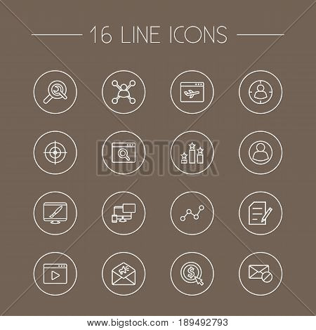 Set Of 16 Search Outline Icons Set.Collection Of Copyright, Advertising, Keywords And Other Elements.
