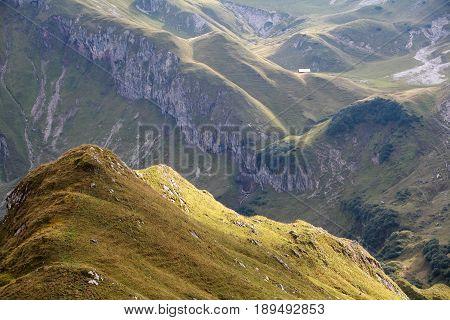 view on hills in Austrian Alps in autumn