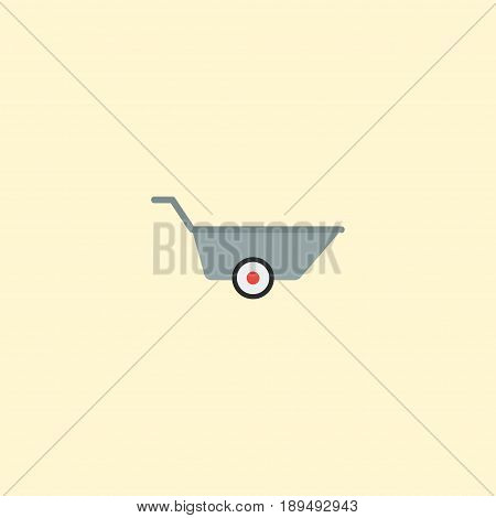 Flat Barrow Element. Vector Illustration Of Flat Wheelbarrow Isolated On Clean Background. Can Be Used As Wheelbarrow, Barrow And Car Symbols.