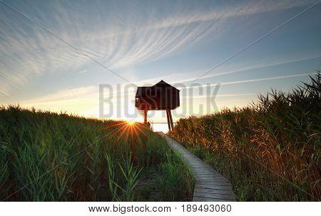 sunset behind wooden observation tower Groningen Netherlands