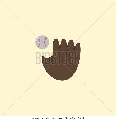 Flat Baseball Element. Vector Illustration Of Flat Glove  Isolated On Clean Background. Can Be Used As Baseball, Bat And Glove Symbols.