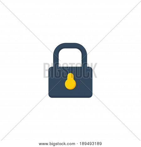 Flat Lock Element. Vector Illustration Of Flat Padlock Isolated On Clean Background. Can Be Used As Lock, Closed And Padlock Symbols.