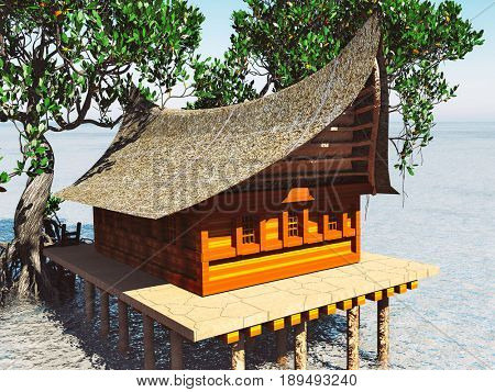 House on stilts in the mangrove forest. Beach architecture 3d rendering