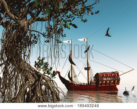 Pirate ship at magical evening on the ocean 3d rendering