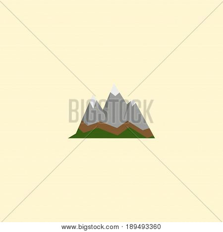 Flat Mountains Element. Vector Illustration Of Flat Landscape Isolated On Clean Background. Can Be Used As Landscape, Mountains And Peak Symbols.