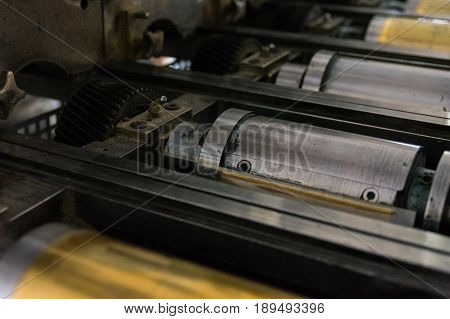 Golden Letterpress Cylinders Rustic Vintage Printing Method Metallic Rollers Four Color Cmyk Print C
