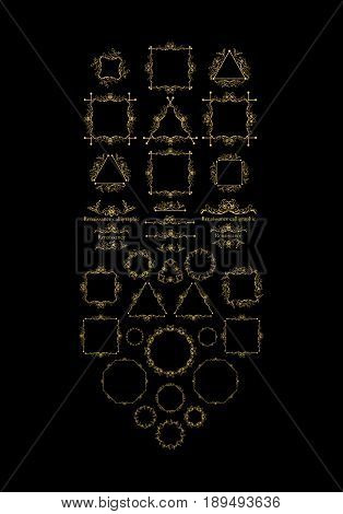 Vintage frame elements, golden on black, vector illustration for decoration and framing, ornate scroll elements in renaissance calligraphic style, romantic and elegant swirls