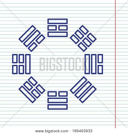Bagua sign. Vector. Navy line icon on notebook paper as background with red line for field.