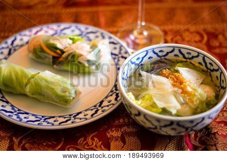 Southeast Asian Style Summer Roll and glas noodle soup served