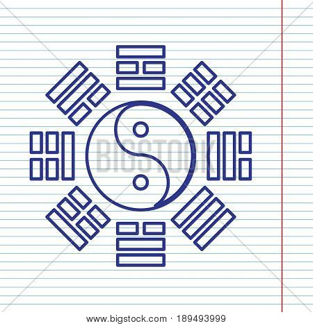 Yin and yang sign with bagua arrangement. Vector. Navy line icon on notebook paper as background with red line for field.