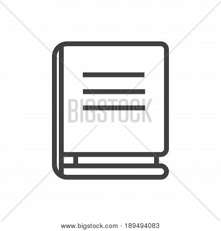 Isolted Textbook Outline Symbol On Clean Background. Vector Encyclopedia Element In Trendy Style.