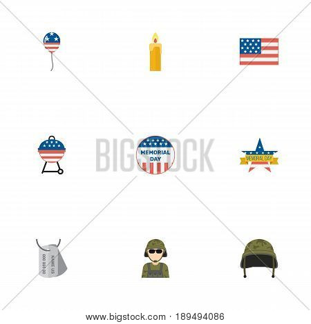 Flat American Banner, Usa Badge, Memorial Day And Other Vector Elements. Set Of Memorial Flat Symbols Also Includes Soldier, Headgear, Usa Objects.