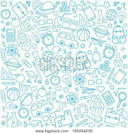 Back to school seamless pattern from education science objects and office supplies. White vector background with blue line art icons.