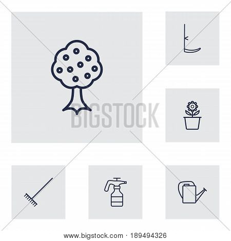 Set Of 6 Household Outline Icons Set.Collection Of Atomizer, Harrow, Bailer And Other Elements.