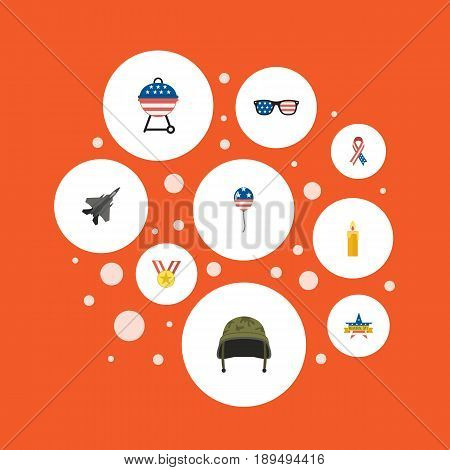 Flat Decoration, Memorial Day, Aircraft And Other Vector Elements. Set Of Day Flat Symbols Also Includes Aircraft, Candle, Headgear Objects.