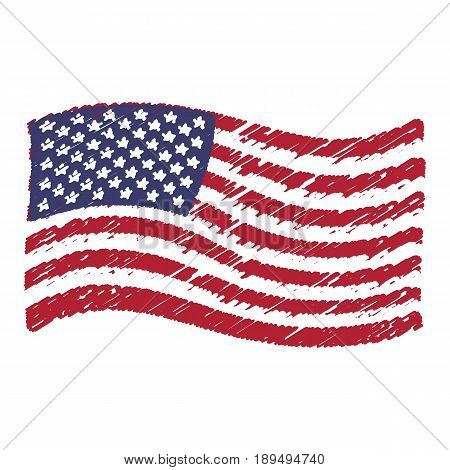 USA flag grunge pencil drawing sketching isolated vector illustration