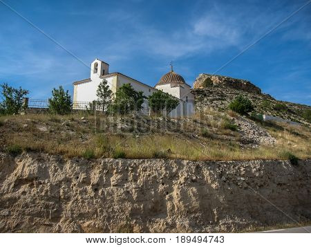 White Church Near The Road At Alcala Del Jucar, Castilla La Manca, Spain